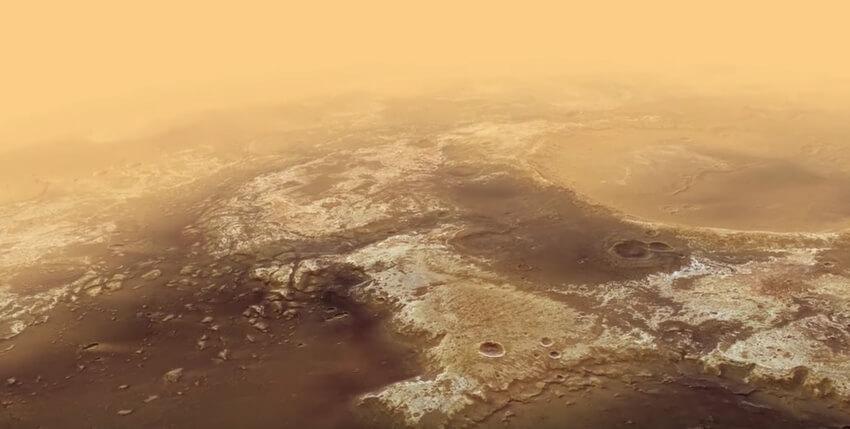 vol au dessus de la planète Mars